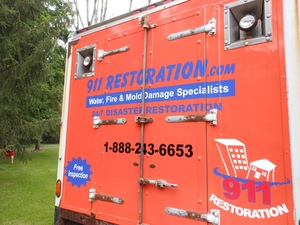 Water Damage Beacon Falls Box Truck Rear At Residential Job Location